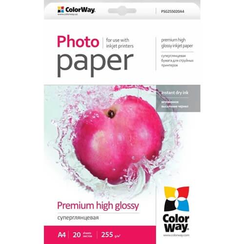 PSG255020A4 ColorWay фотобумага premium high glossy 255 г/м.кв,A4, 20 шт.